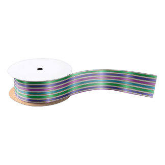 Multicolored Stripes Ribbon Pink Blue Teal Purple