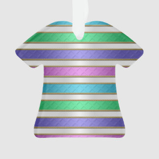 Multicolored Stripes Ribbon Pink Blue Teal Purple Ornament