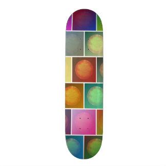 Multicolored suns skateboard deck