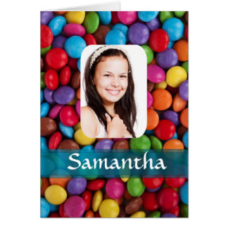 Multicolored sweets photo template greeting card