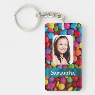 Multicolored sweets photo template Double-Sided rectangular acrylic keychain