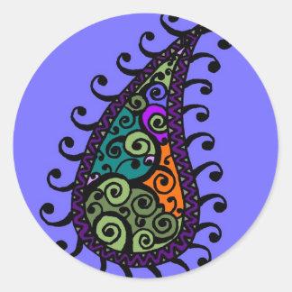 Multicolored swirl paisley classic round sticker