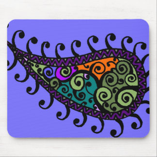 Multicolored swirl paisley mouse pad
