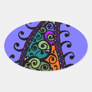 Multicolored swirl paisley oval sticker