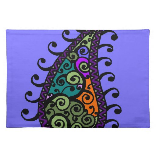 Multicolored swirl paisley place mat