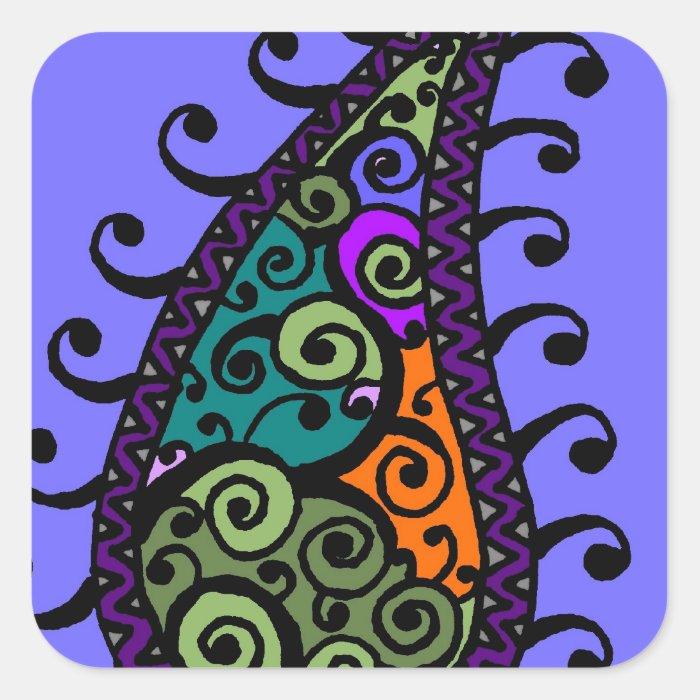Multicolored swirl paisley square sticker