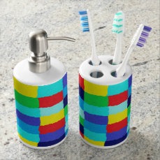 Multicolored toothbrush owner and liquid soap bathroom set