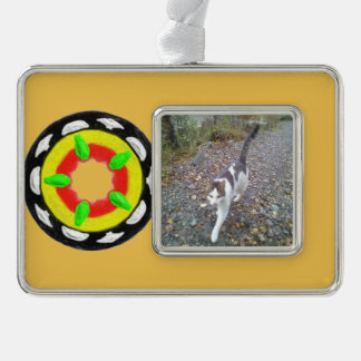 Multicolored trendy abstract pattern silver plated framed ornament