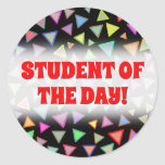 [ Thumbnail: Multicolored Triangles Pattern Round Sticker ]