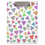 [ Thumbnail: Multicolored Triangles Pattern Clipboard ]