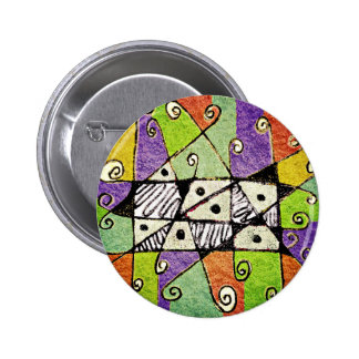 Multicolored Tribal Print Abstract Art Pin