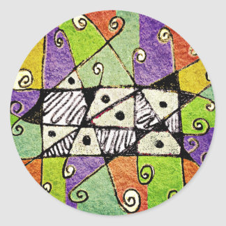 Multicolored Tribal Print Abstract Art Classic Round Sticker