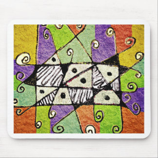Multicolored Tribal Print Abstract Art Mouse Pad