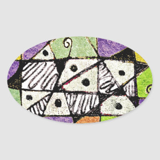 Multicolored Tribal Print Abstract Art Oval Sticker