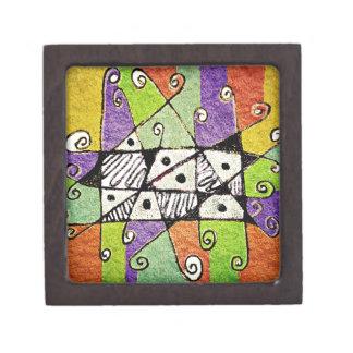 Multicolored Tribal Print Abstract Art Premium Keepsake Box