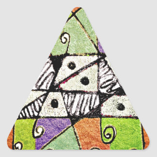 Multicolored Tribal Print Abstract Art Triangle Sticker