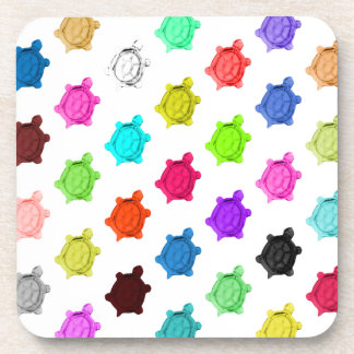 Multicolored Turtle Pattern Beverage Coaster