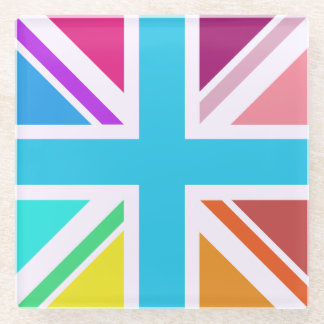 Multicolored Union Flag/Jack Design Glass Coaster
