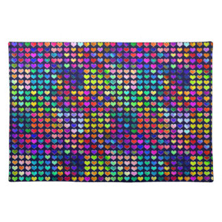 Multicolored Valentine Rainbow Hearts Placemat