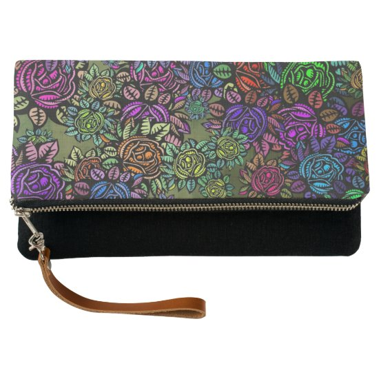 Multicolored Vintage Rose Clutch