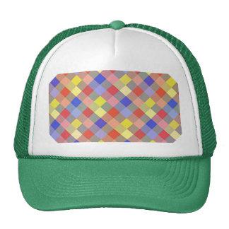 Multicolored Vintage Square. Geometric Pattern Mesh Hat