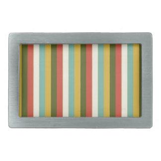 Multicolored Vintage Stripes Pattern Rectangular Belt Buckle