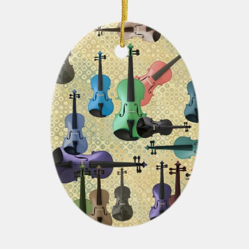Multicolored Violin Collage on Retro Wallpaper Double-Sided Oval Ceramic Christmas Ornament