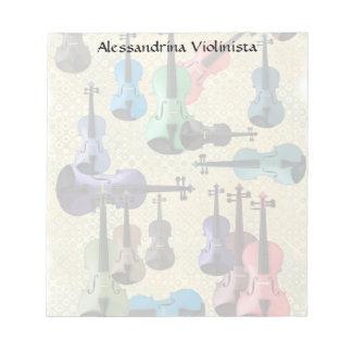 Multicolored Violin Retro Wallpaper Notepad