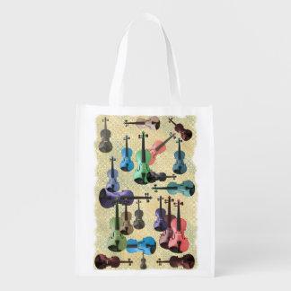 Multicolored Violin Wallpaper Market Tote