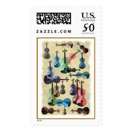 Multicolored Violin Wallpaper Postage