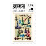 Multicolored Violin Wallpaper Postage Stamps
