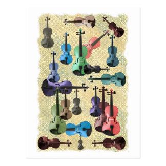 Multicolored Violin Wallpaper Postcard