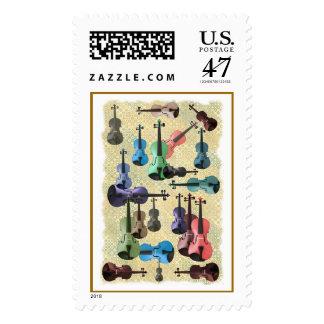 Multicolored Violin Wallpaper Stamp
