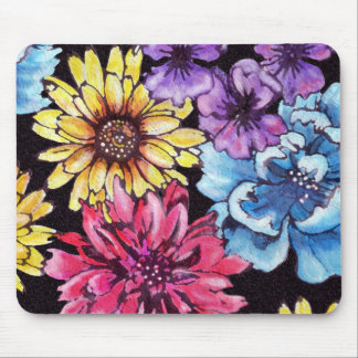 Multicolored watercolor flower bouquet mouse pad