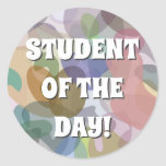 [ Thumbnail: Multicolored Watercolor Look Blob Pattern Round Sticker ]