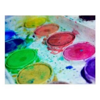 Multicolored Watercolor Paint Palette Postcard
