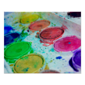 Multicolored Watercolor Paint Palette Poster