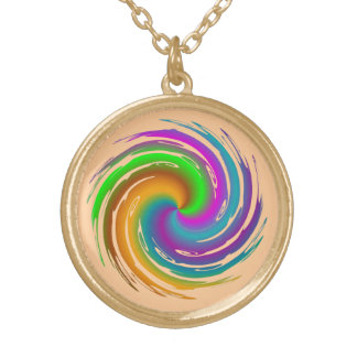 Multicolored wave gold plated necklace