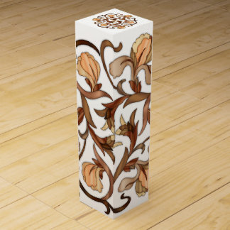 Multicolored Wood In-Lay Flowers - Wine Gift Box