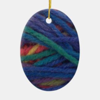 Multicolored Yarn Ceramic Ornament