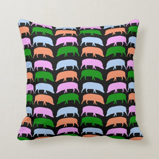 Multicolour Hogs Pink Blue Green Orange Pillow