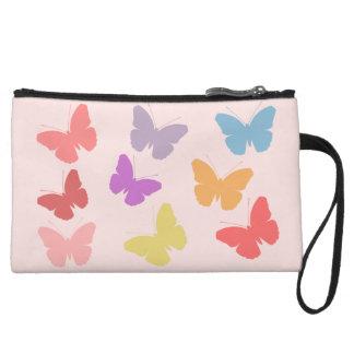 Multicoloured Butterflies Design Wristlet Clutch