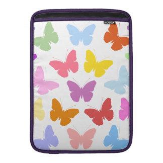 Multicoloured Butterflies Pattern II on White MacBook Sleeve