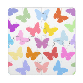 Multicoloured Butterflies Pattern II on White Puzzle Coaster