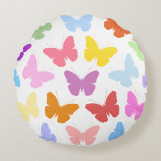 Multicoloured Butterflies Pattern II on White Round Pillow