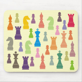 Multicoloured Chess Pieces Mousepad
