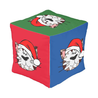 Multicoloured Christmas Cat Outdoor Cubed Pouf