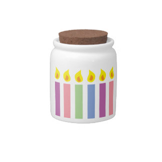 Multicoloured Colorful Birthday Candles Candy Jars