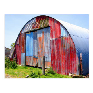 Multicoloured Corrugated Steel Shed Postcard