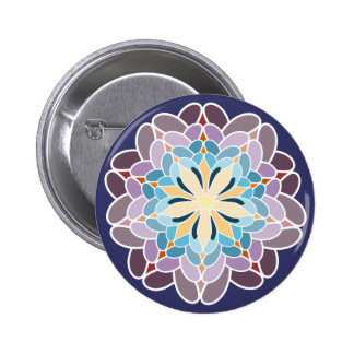 Multicoloured dahlia pinback button